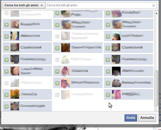 Facebook cheats: selezionare tutti gli amici per invitarli tutti ad un evento o una pagina, aggiungerli ad un gruppo, mandare suggerimenti amicizia, ...